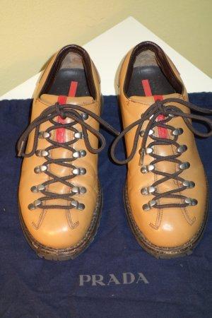 Org. PRADA Leder-Sneaker in camel Gr.36,5