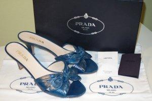 Org. PRADA Mules/Sandaletten mit Schleifen petrol Gr.39,5 inkl.Karton+Dustbags