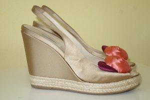 Org. PRADA Plateau Wedge Sandaletten aus Satin mit Blumen Gr.38,5