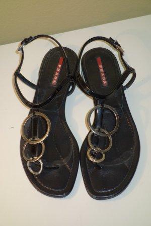 Prada Sandalias con talón descubierto negro Cuero