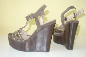 Pura Lopez Wedge Sandals dark brown