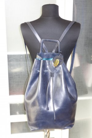 Backpack dark blue leather