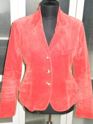 Org. RALPH LAUREN blue label Kord-Blazer orange mit Lederpatches Gr.36