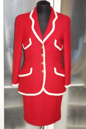 Org. RENA LANGE Kostüm in rot gewebter Wollmix Gr.38