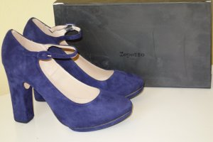 Org. REPETTO Mary Jane Plateau Pumps aus Wildleder in dunkelblau NEU+Karton Gr.40
