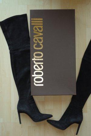 Org. ROBERTO CAVALLI Runway Overknee Stiefel 1210€ aus Veloursleder schwarz Gr.40 inkl. Karton