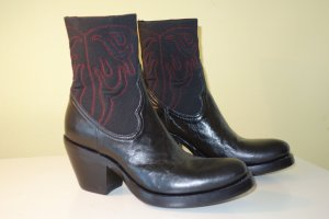 Rocco P. Western Booties black-dark red leather