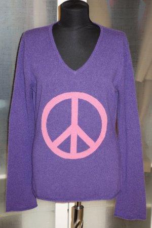 Org. ROSA von SCHMAUS Kaschmir Pullover in lila mit Peace-Logo Gr.40/42)