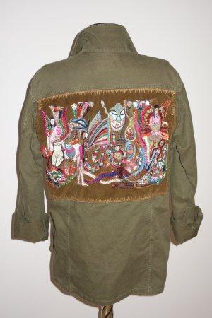 Org. SAINT LAURENT Army Parka Jacke aus denim in khaki mit Stickereien und Applikationen