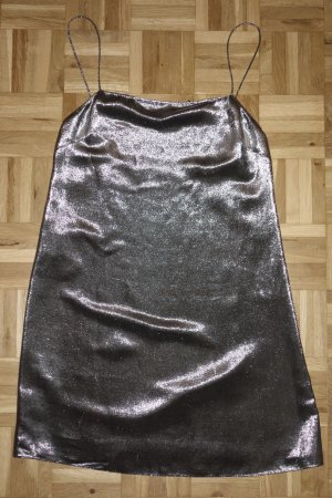 Org. SAINT LAURENT metallic Mini Kleid in silber Gr.34