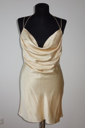 Org. SAINT LAURENT Runway silk dress rückenfrei champagne Gr.34/36