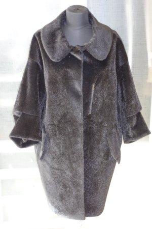 Org. SCHUMACHER fake fur Mantel dunkelbraun NEU+Etikett