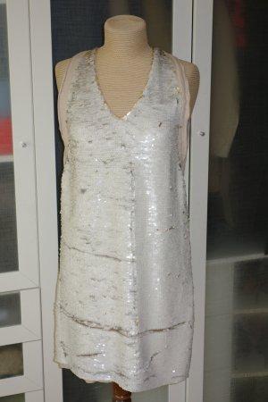 Org. SCHUMACHER Pailletten-Kleid in weiß/gold Gr.36