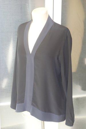 Org. SCHUMACHER Seiden-Tunika Bluse in schwarz/dunkelblau Gr.40