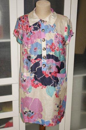 Org. SET Blusenkleid aus Seide mit Blumen-Print Gr.38