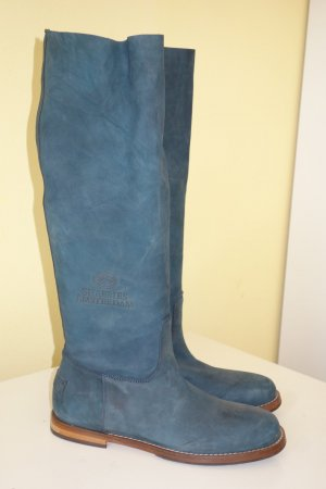 Shabbies amsterdam Slouch Boots petrol leather