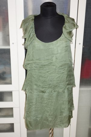 Org. STELLA McCARTNEY Seiden-Minikleid/Seidenlongbluse mit Volants grün Gr.36