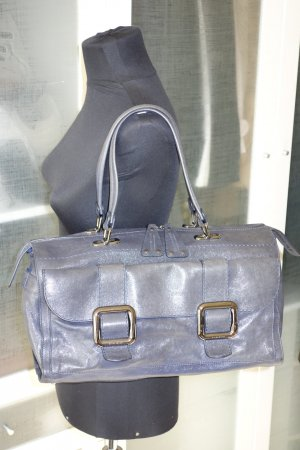 Org. STRENESSE Gabriele Strehle Leder-Handtasche grau-blau wie neu