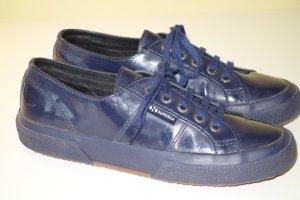 Org. SUPERGA Sneaker aus Lackleder in dunkelblau Gr.40