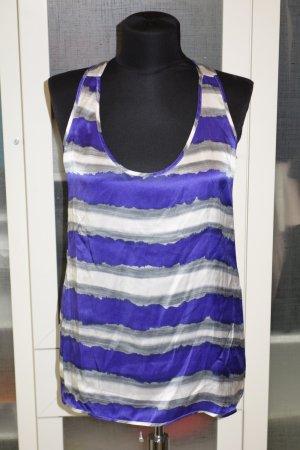 Org. TARA JARMON Seiden-top mit Streifen violett/weiß Gr.38