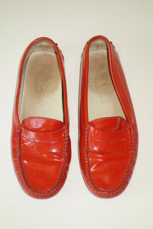 Org. TOD'S Loafer aus Lackleder in orange Gr.37,5
