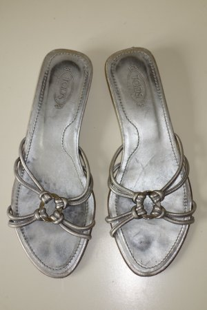 Tod's High-Heeled Sandals silver-colored leather