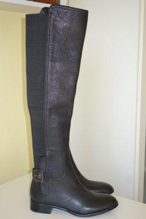 Org. TORY BURCH Overknee Stiefel in schwarz Leder Gr.37,5/38 NEU