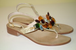 Toe-Post sandals gold-colored-light brown leather
