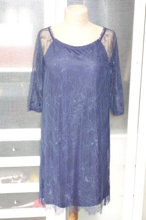 Org. TWIN SET Simona Barbieri Kleid aus Spitze dunkelblau Gr.S