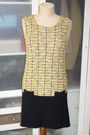 Org. TWIN SET Simona Barbieri Tweed Kleid mit gestricktem Saum Gr.S