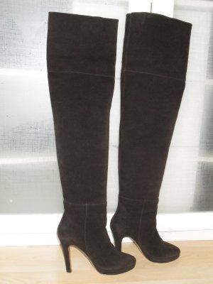 Unützer Botas sobre la rodilla marrón oscuro Gamuza