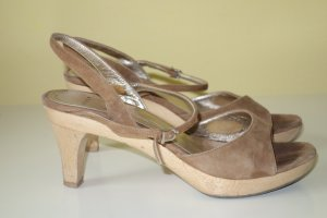 Unützer Sandalias de tacón marrón claro