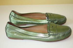 Org. UNÜTZER Slipper metallic Leder grün Gr.39,5
