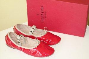 Valentino Ballerines en cuir verni rouge cuir