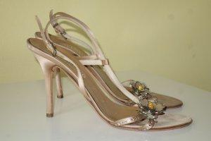 Org. VALENTINO vintage Sandaletten mit Swarovskisteinen und Applikationen Gr.38,5
