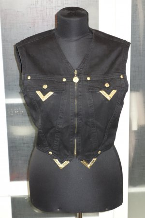 Org. VERSACE Jeans Couture vintage Jeansweste in schwarz Gr.36