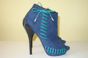 Versace Booties dark blue-green suede
