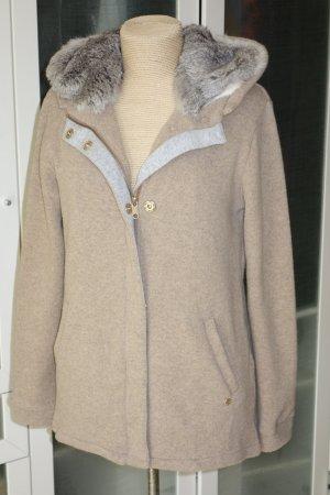 Org. WOOLRICH Woll-Jacke in beige mit Kaninchenfellfutter Gr.L