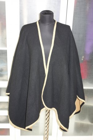 Org. YVES SAINT LAURENT Poncho Wolle schwarz/camel