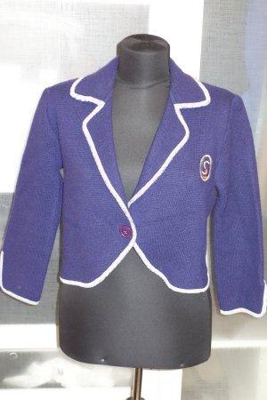 Org. YVES SAINT LAURENT vintage tricot Kurz-Strickjacke in blau mit Logo