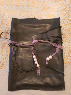 Messengerbag black-light pink leather