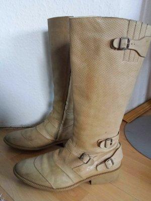 Orginal Belstaff Trailmaster Beige Stiefel Boots Echt Leder Biker gr 40
