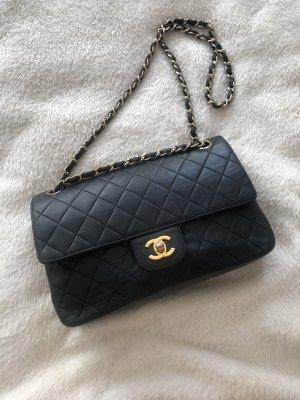 Chanel Borsa a spalla blu scuro-oro