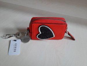 Orginal GUESS! Mini Börse & Schlüsselanhänger,Rot/ Silber, Neu &Etikett!