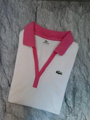 Lacoste Top Polo bianco-rosa Cotone
