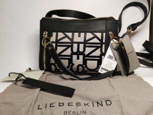 Orginal Liebeskind Handbag, schwarz/beige, Leder/ Jaquard, Neu mit Etikett!