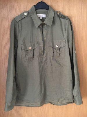 Michael Kors Long Sleeve Blouse dark green cotton