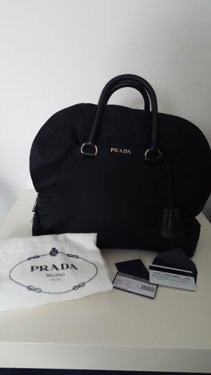 Orginal Prada Schwarz Tessuto Nylon/Leder Ruffle Tasche