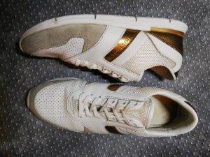 Orginal Tommy Hilfiger Leder Sneaker, weiss/gold, Gr 39!