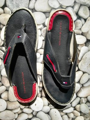Tommy Hilfiger Flip flop sandalen rood-donkerblauw Leer